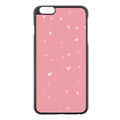 Pink Background With White Hearts On Lines Apple Iphone 6 Plus/6s Plus Black Enamel Case by TastefulDesigns