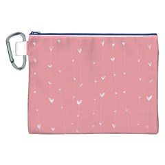 Pink Background With White Hearts On Lines Canvas Cosmetic Bag (xxl) by TastefulDesigns