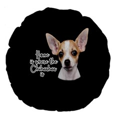 Chihuahua Large 18  Premium Flano Round Cushions by Valentinaart