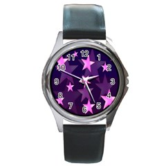 Background With A Stars Round Metal Watch by Nexatart