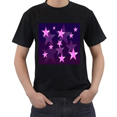 Background With A Stars Men s T Shirt (black) (two Sided)