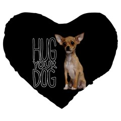 Chihuahua Large 19  Premium Heart Shape Cushions by Valentinaart
