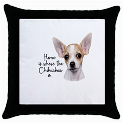 Chihuahua Throw Pillow Case (black) by Valentinaart