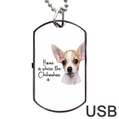 Chihuahua Dog Tag Usb Flash (one Side) by Valentinaart