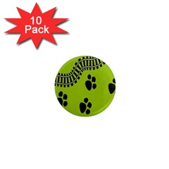 Green Prints Next To Track 1  Mini Magnet (10 Pack)  by Nexatart