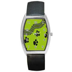 Green Prints Next To Track Barrel Style Metal Watch