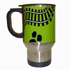 Green Prints Next To Track Travel Mugs (white)