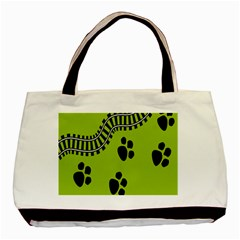 Green Prints Next To Track Basic Tote Bag by Nexatart