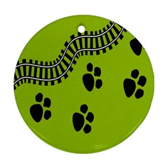 Green Prints Next To Track Round Ornament (two Sides)