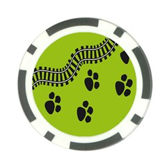 Green Prints Next To Track Poker Chip Card Guard