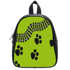 Green Prints Next To Track School Bags (small)  by Nexatart