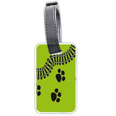 Green Prints Next To Track Luggage Tags (two Sides) by Nexatart