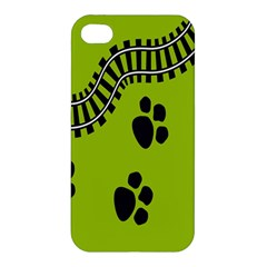 Green Prints Next To Track Apple Iphone 4/4s Hardshell Case