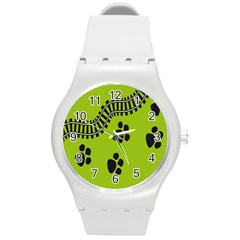 Green Prints Next To Track Round Plastic Sport Watch (m)