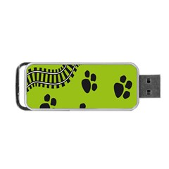 Green Prints Next To Track Portable Usb Flash (one Side) by Nexatart