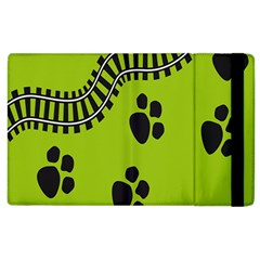 Green Prints Next To Track Apple Ipad 2 Flip Case