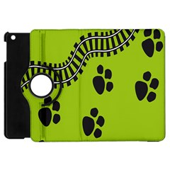 Green Prints Next To Track Apple Ipad Mini Flip 360 Case
