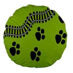 Green Prints Next To Track Large 18  Premium Round Cushions
