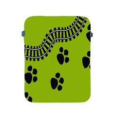 Green Prints Next To Track Apple Ipad 2/3/4 Protective Soft Cases