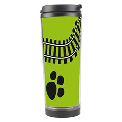Green Prints Next To Track Travel Tumbler