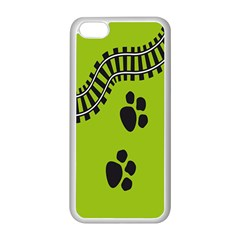 Green Prints Next To Track Apple Iphone 5c Seamless Case (white)