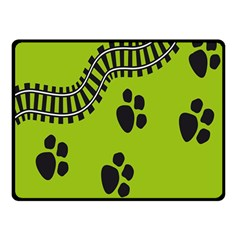 Green Prints Next To Track Double Sided Fleece Blanket (small)
