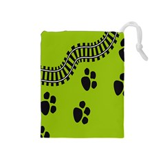 Green Prints Next To Track Drawstring Pouches (medium)