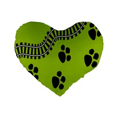 Green Prints Next To Track Standard 16  Premium Flano Heart Shape Cushions