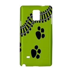 Green Prints Next To Track Samsung Galaxy Note 4 Hardshell Case by Nexatart