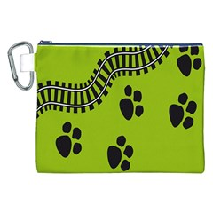 Green Prints Next To Track Canvas Cosmetic Bag (xxl) by Nexatart