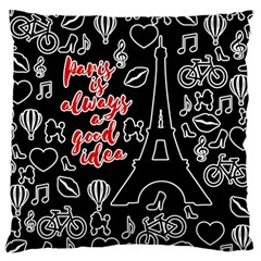 Paris Large Cushion Case (one Side) by Valentinaart
