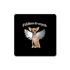 Angel Chihuahua Square Magnet by Valentinaart