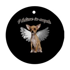 Angel Chihuahua Round Ornament (two Sides) by Valentinaart