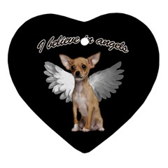 Angel Chihuahua Heart Ornament (two Sides) by Valentinaart