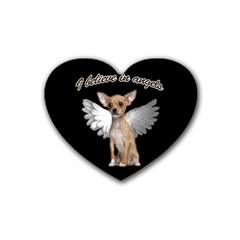 Angel Chihuahua Rubber Coaster (heart)  by Valentinaart