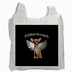 Angel Chihuahua Recycle Bag (two Side)  by Valentinaart