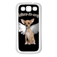 Angel Chihuahua Samsung Galaxy S3 Back Case (white) by Valentinaart