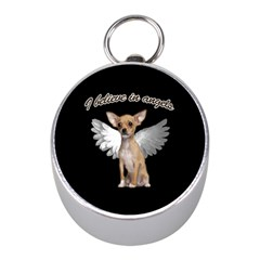 Angel Chihuahua Mini Silver Compasses by Valentinaart
