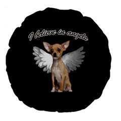 Angel Chihuahua Large 18  Premium Flano Round Cushions by Valentinaart
