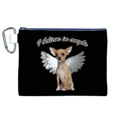 Angel Chihuahua Canvas Cosmetic Bag (xl) by Valentinaart