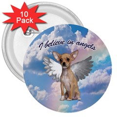 Angel Chihuahua 3  Buttons (10 Pack)  by Valentinaart