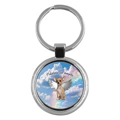 Angel Chihuahua Key Chains (round)  by Valentinaart