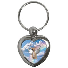 Angel Chihuahua Key Chains (heart)  by Valentinaart
