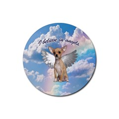 Angel Chihuahua Rubber Coaster (round)  by Valentinaart