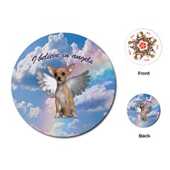 Angel Chihuahua Playing Cards (round)  by Valentinaart