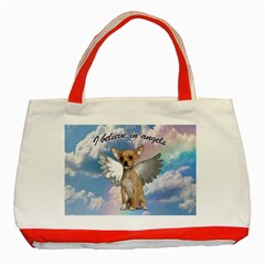 Angel Chihuahua Classic Tote Bag (red) by Valentinaart