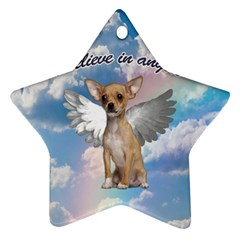 Angel Chihuahua Star Ornament (two Sides) by Valentinaart