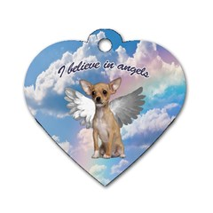 Angel Chihuahua Dog Tag Heart (two Sides) by Valentinaart