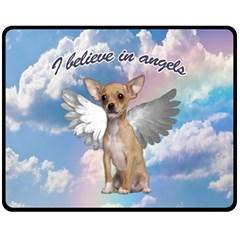 Angel Chihuahua Fleece Blanket (medium)  by Valentinaart