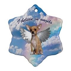 Angel Chihuahua Ornament (snowflake) by Valentinaart